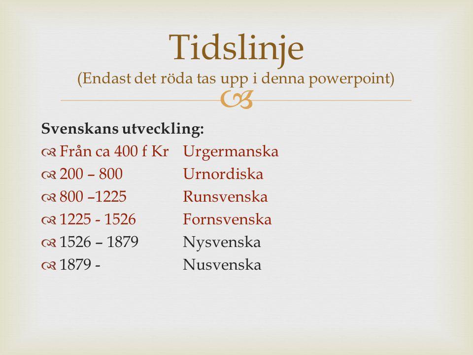  Svenskans utveckling:  Från ca 400 f KrUrgermanska  200 – 800 Urnordiska  800 –1225Runsvenska  1225 - 1526Fornsvenska  1526 – 1879Nysvenska  1