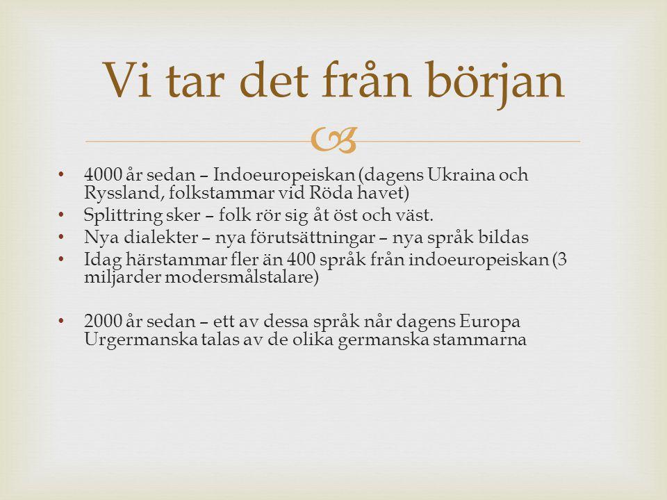  4000 år sedan – Indoeuropeiskan (dagens Ukraina och Ryssland, folkstammar vid Röda havet) Splittring sker – folk rör sig åt öst och väst. Nya dialek