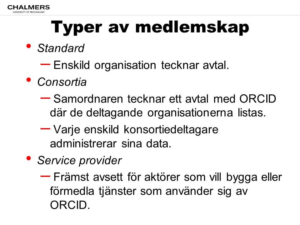 Typer av medlemskap Standard – Enskild organisation tecknar avtal.