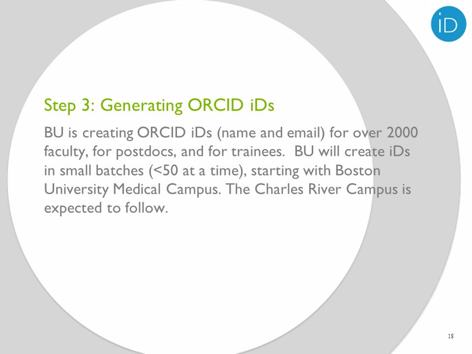 Step 3: Generating ORCID iDs 18