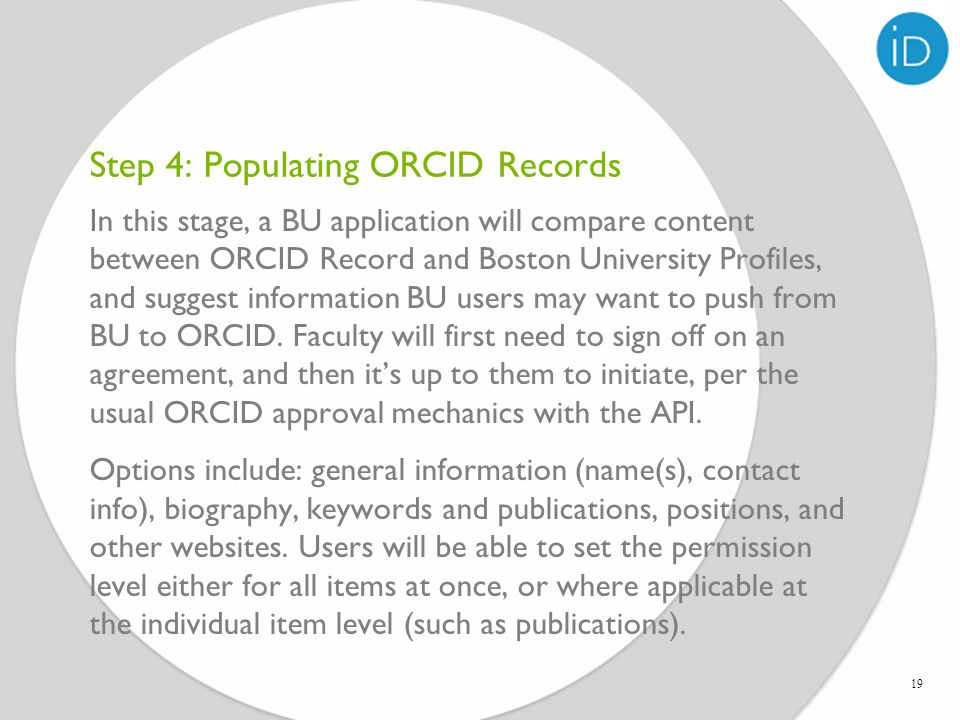 Step 4: Populating ORCID Records 19
