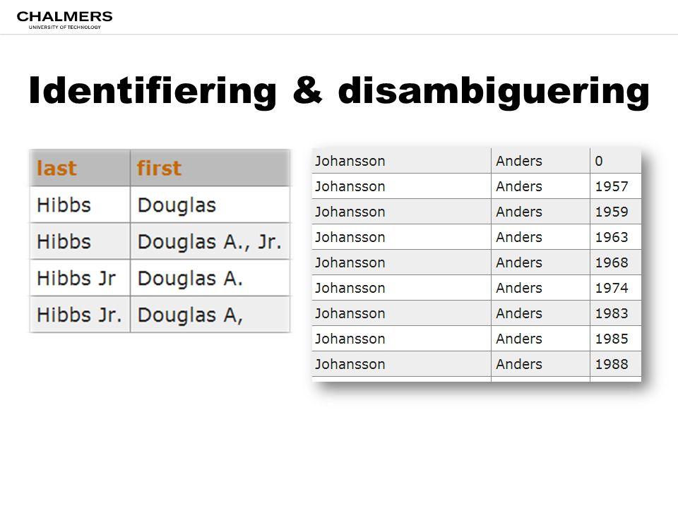 Identifiering & disambiguering