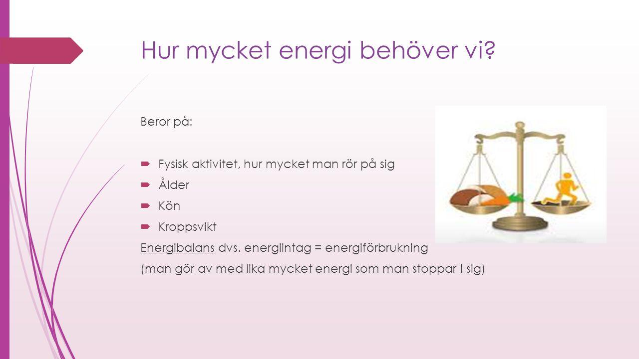Hur mycket energi behöver vi? Beror på:  Fysisk aktivitet, hur mycket man rör på sig  Ålder  Kön  Kroppsvikt Energibalans dvs. energiintag = energ