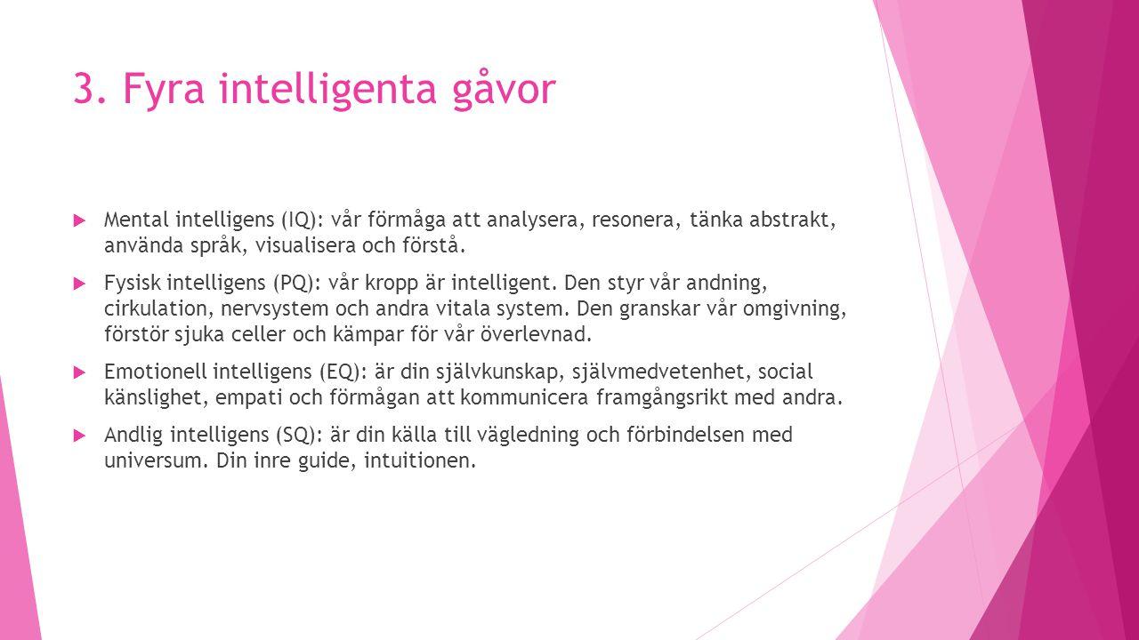 3. Fyra intelligenta gåvor  Mental intelligens (IQ): vår förmåga att analysera, resonera, tänka abstrakt, använda språk, visualisera och förstå.  Fy