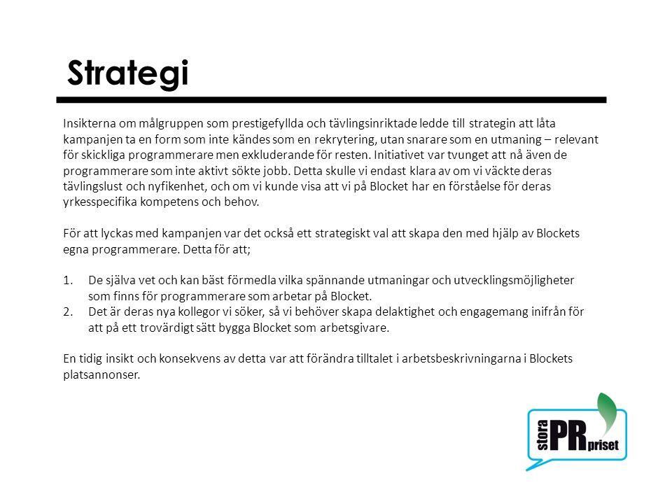 Strategi Insikterna om målgruppen som prestigefyllda och tävlingsinriktade ledde till strategin att låta kampanjen ta en form som inte kändes som en r