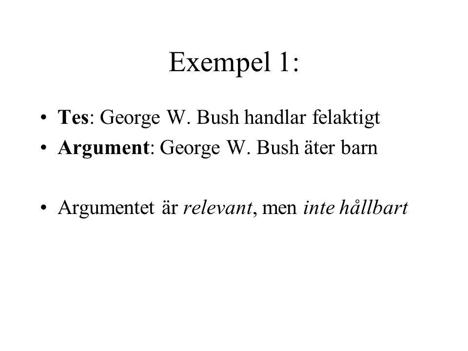 Exempel 1: Tes: George W.Bush handlar felaktigt Argument: George W.