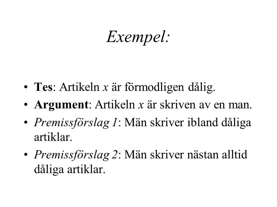 Exempel: Tes: Artikeln x är förmodligen dålig.Argument: Artikeln x är skriven av en man.