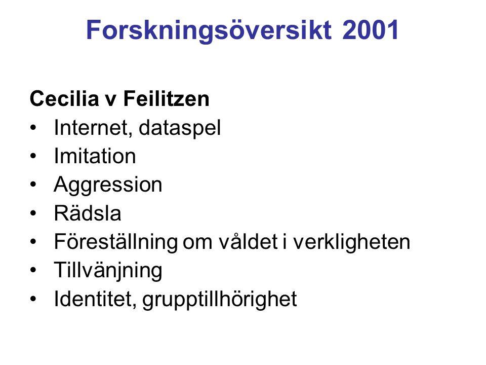 Forskningsöversikt 2001 Cecilia v Feilitzen Internet, dataspel Imitation Aggression Rädsla Föreställning om våldet i verkligheten Tillvänjning Identitet, grupptillhörighet