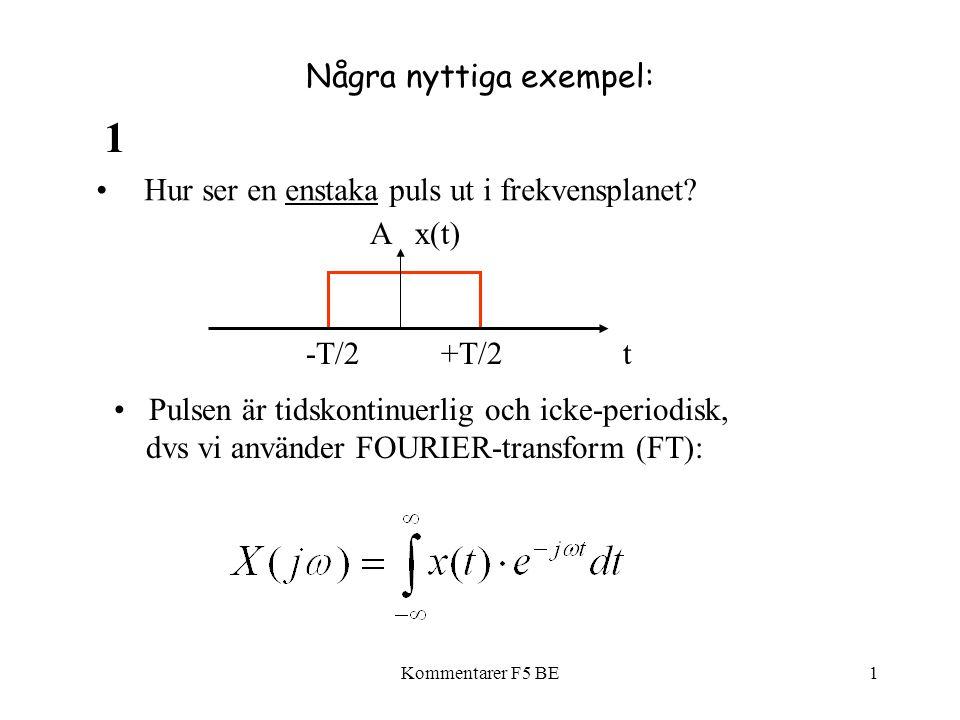 Kommentarer F5 BE1 Några nyttiga exempel: Hur ser en enstaka puls ut i frekvensplanet? Pulsen är tidskontinuerlig och icke-periodisk, dvs vi använder