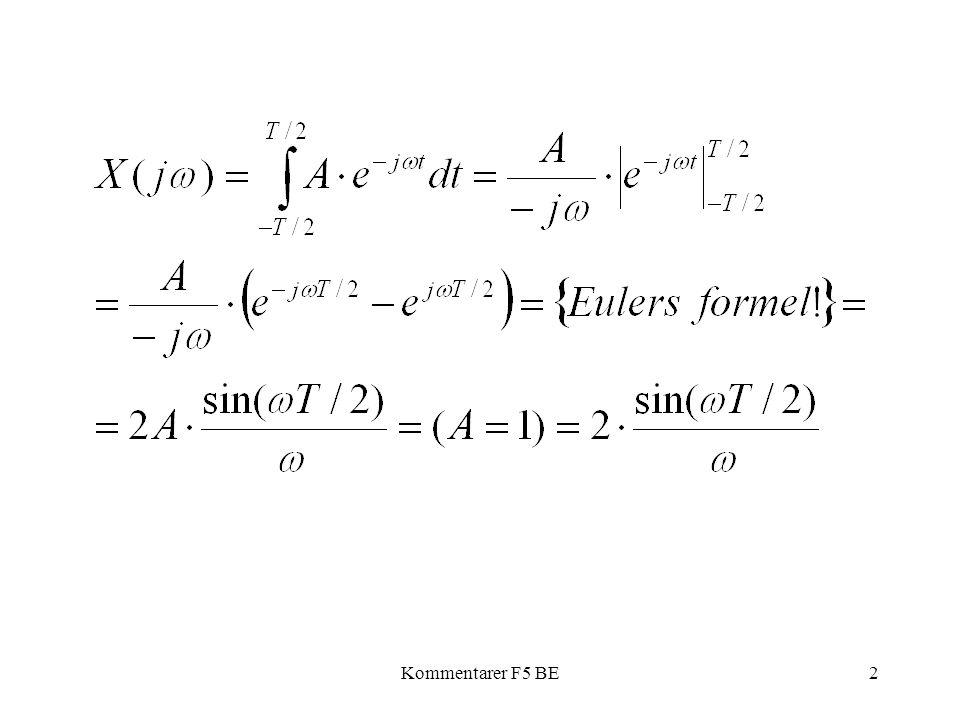 Kommentarer F5 BE13 2 Hur ser spektrum för ett godtyckligt antal perioder av en cosinus-funktion ut?.