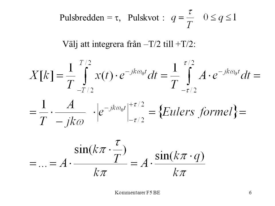 Kommentarer F5 BE6 Pulsbredden = , Pulskvot : Välj att integrera från –T/2 till +T/2: