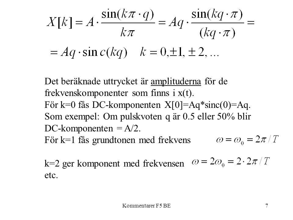 Kommentarer F5 BE7 Det beräknade uttrycket är amplituderna för de frekvenskomponenter som finns i x(t). För k=0 fås DC-komponenten X[0]=Aq*sinc(0)=Aq.
