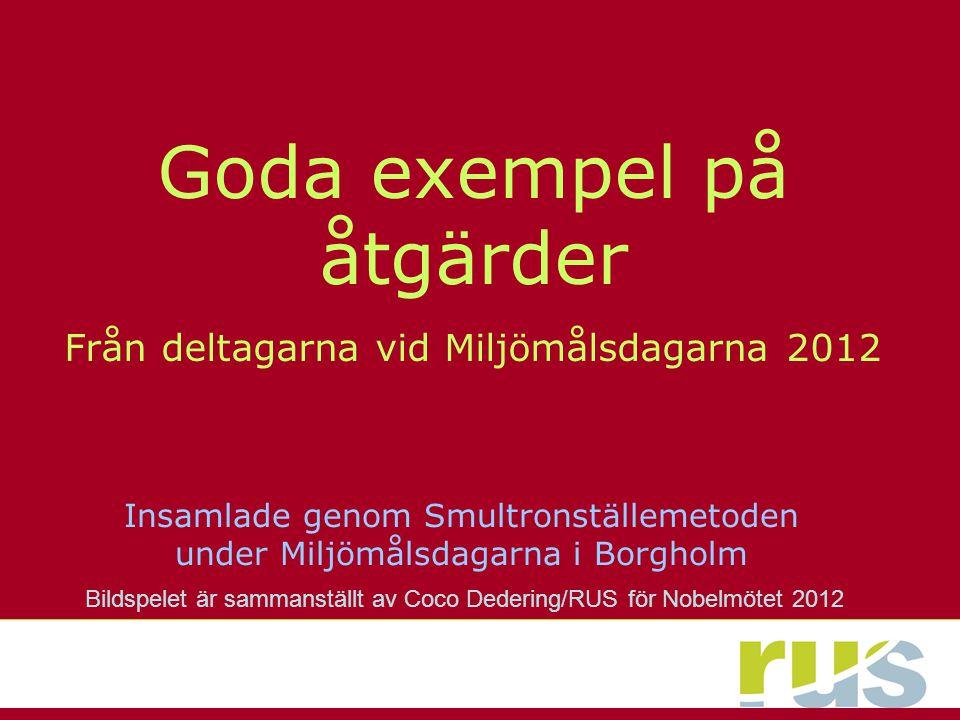 Tack alla ni som deltog i Miljömåls-Smultronställe-aktiviteten på Miljömålsdagarna i Borgholm 2012.