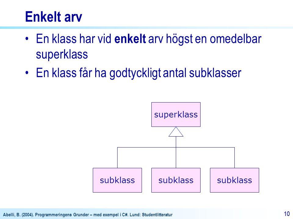 Abelli, B. (2004). Programmeringens Grunder – med exempel i C#. Lund: Studentlitteratur 10 Enkelt arv En klass har vid enkelt arv högst en omedelbar s