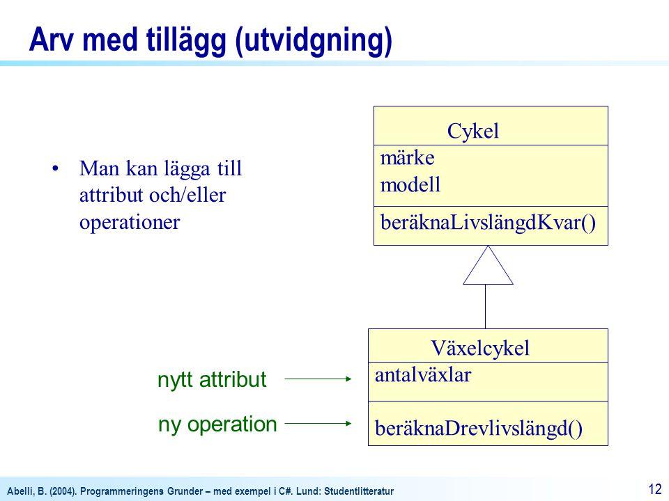 Abelli, B. (2004). Programmeringens Grunder – med exempel i C#. Lund: Studentlitteratur 12 Arv med tillägg (utvidgning) Cykel märke modell beräknaLivs