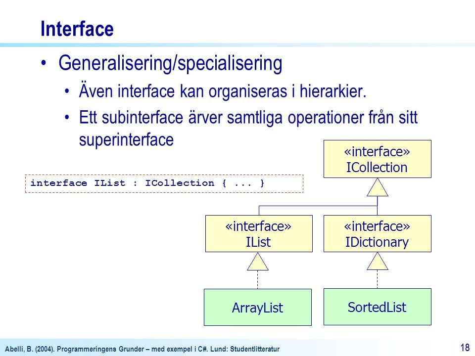 Abelli, B. (2004). Programmeringens Grunder – med exempel i C#. Lund: Studentlitteratur 18 Interface Generalisering/specialisering Även interface kan