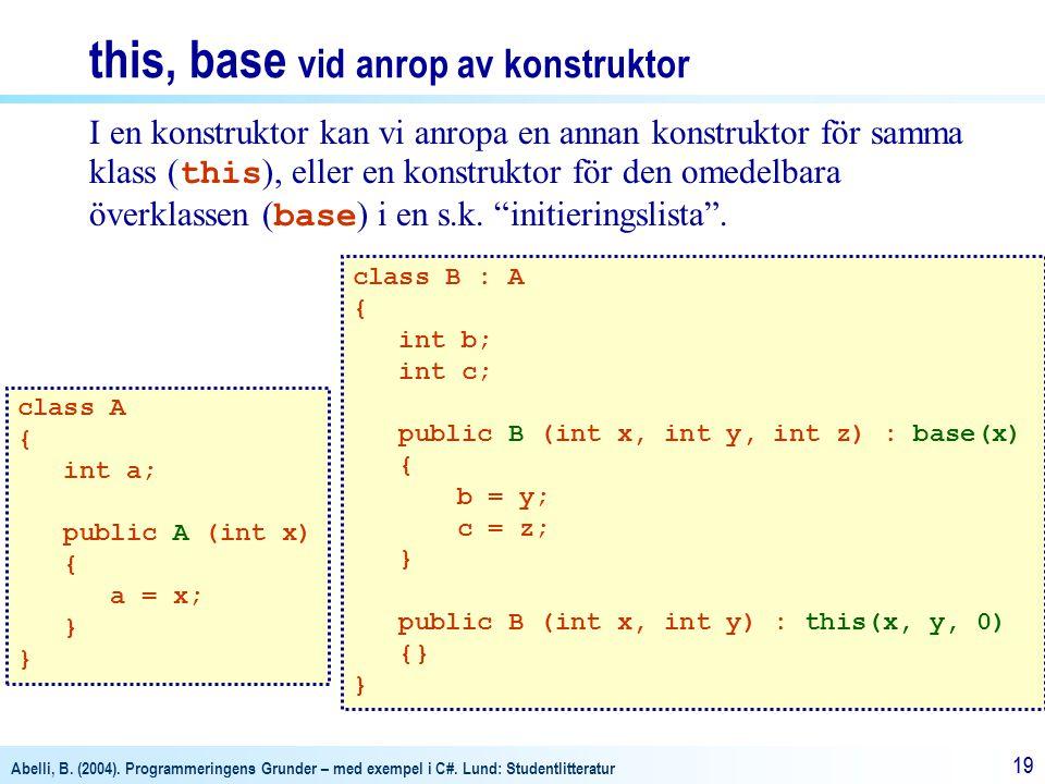 Abelli, B. (2004). Programmeringens Grunder – med exempel i C#. Lund: Studentlitteratur 19 I en konstruktor kan vi anropa en annan konstruktor för sam
