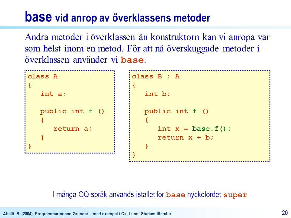 Abelli, B. (2004). Programmeringens Grunder – med exempel i C#. Lund: Studentlitteratur 20 Andra metoder i överklassen än konstruktorn kan vi anropa v