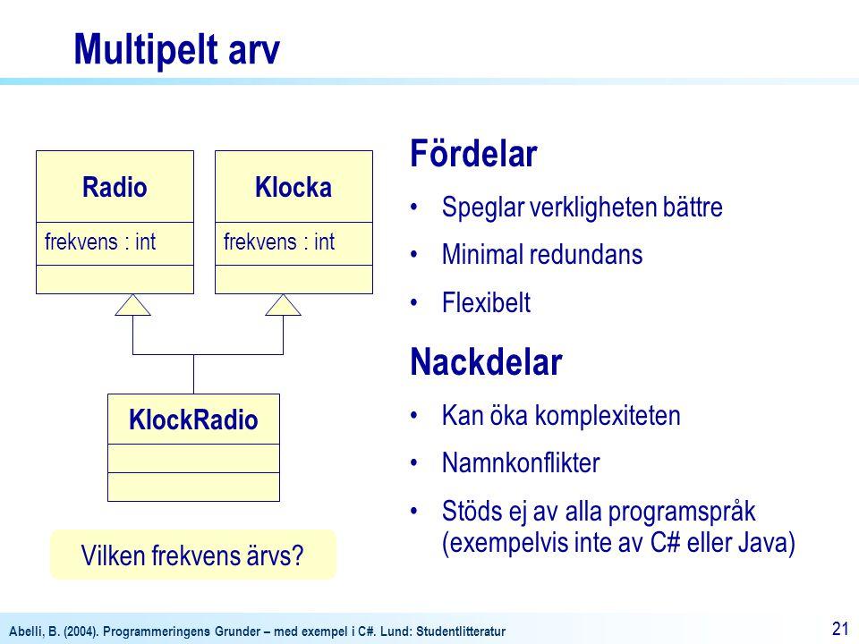 Abelli, B. (2004). Programmeringens Grunder – med exempel i C#. Lund: Studentlitteratur 21 Multipelt arv Fördelar Speglar verkligheten bättre Minimal
