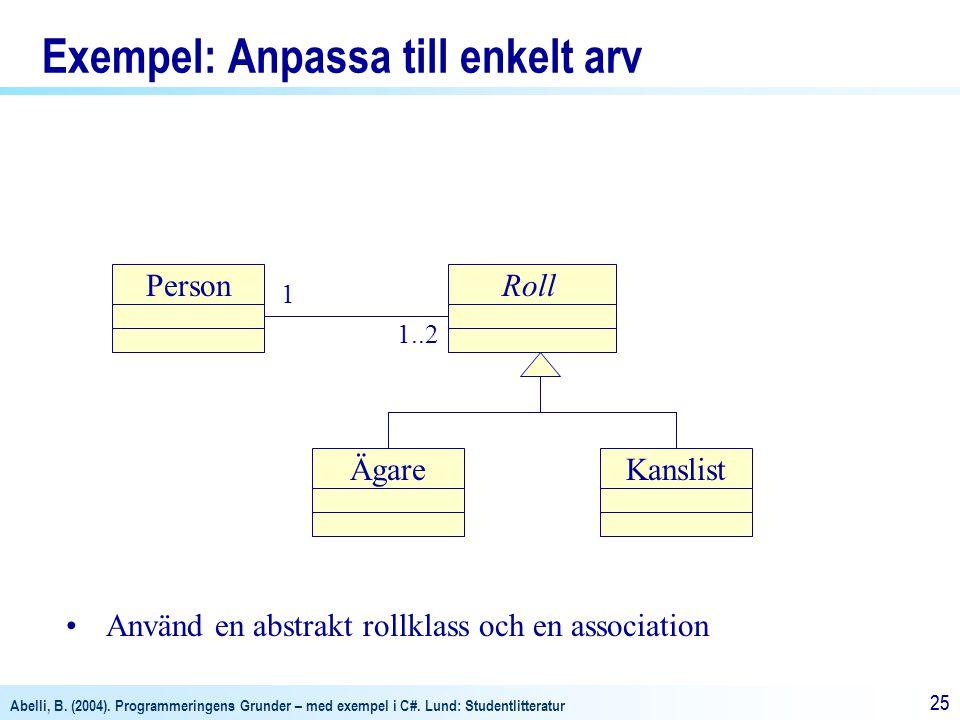 Abelli, B. (2004). Programmeringens Grunder – med exempel i C#. Lund: Studentlitteratur 25 Exempel: Anpassa till enkelt arv 1 1..2 Använd en abstrakt