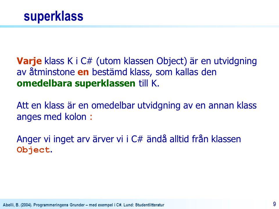 Abelli, B. (2004). Programmeringens Grunder – med exempel i C#. Lund: Studentlitteratur 99 Varje klass K i C# (utom klassen Object) är en utvidgning a
