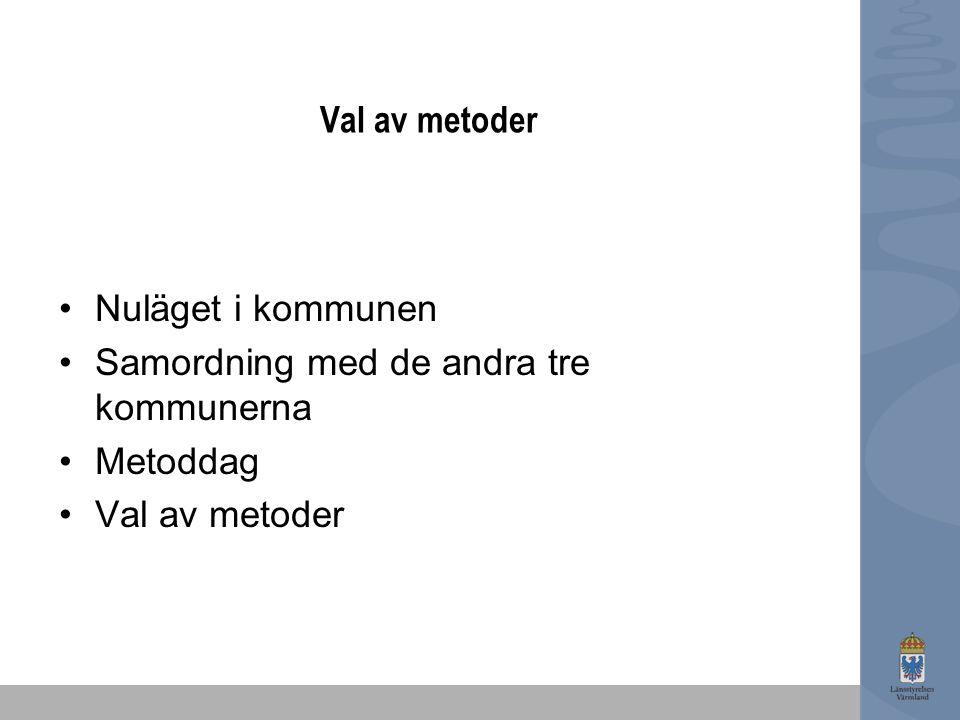 Val av metoder Nuläget i kommunen Samordning med de andra tre kommunerna Metoddag Val av metoder
