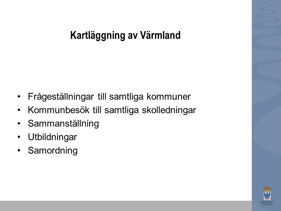 Kartläggning av Värmland Frågeställningar till samtliga kommuner Kommunbesök till samtliga skolledningar Sammanställning Utbildningar Samordning