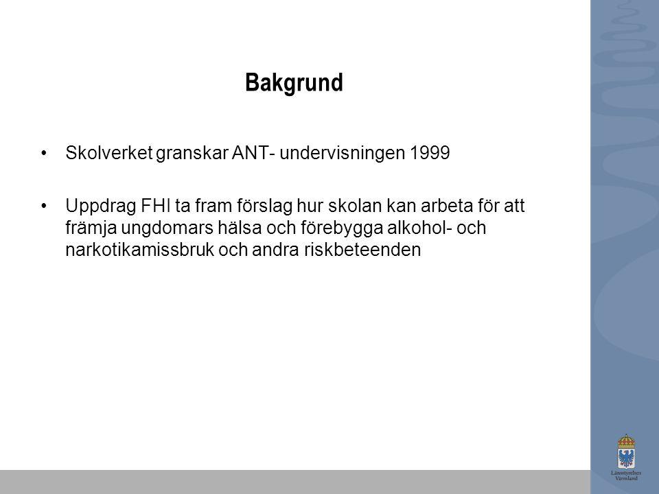 Bakgrund Skolverket granskar ANT- undervisningen 1999 Uppdrag FHI ta fram förslag hur skolan kan arbeta för att främja ungdomars hälsa och förebygga alkohol- och narkotikamissbruk och andra riskbeteenden