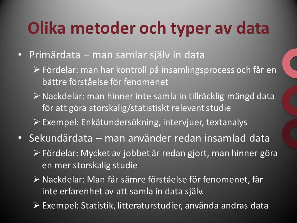 Olika metoder och typer av data Primärdata – man samlar själv in data  Fördelar: man har kontroll på insamlingsprocess och får en bättre förståelse f