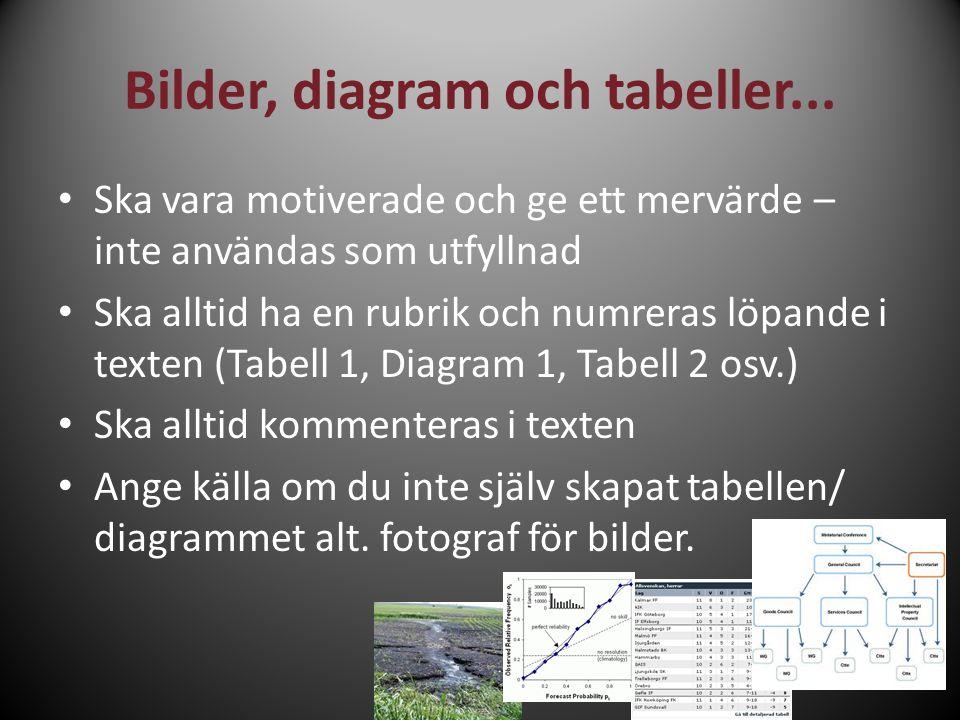 Bilder, diagram och tabeller... Ska vara motiverade och ge ett mervärde – inte användas som utfyllnad Ska alltid ha en rubrik och numreras löpande i t