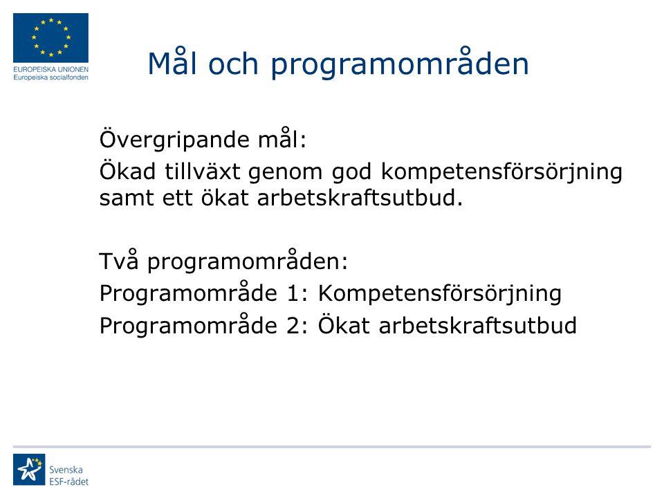 Mål och programområden Övergripande mål: Ökad tillväxt genom god kompetensförsörjning samt ett ökat arbetskraftsutbud. Två programområden: Programområ