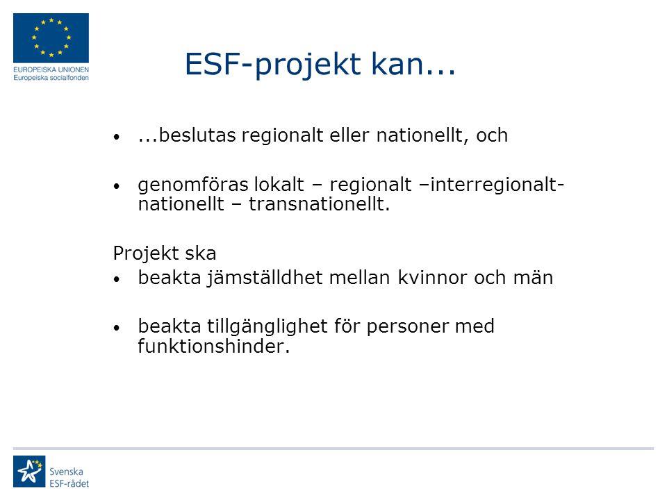 ESF-projekt kan......beslutas regionalt eller nationellt, och genomföras lokalt – regionalt –interregionalt- nationellt – transnationellt. Projekt ska