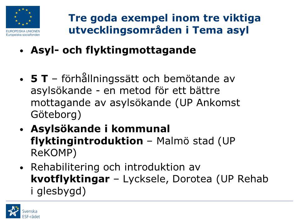 Tre goda exempel inom tre viktiga utvecklingsområden i Tema asyl Asyl- och flyktingmottagande 5 T – förhållningssätt och bemötande av asylsökande - en metod för ett bättre mottagande av asylsökande (UP Ankomst Göteborg) Asylsökande i kommunal flyktingintroduktion – Malmö stad (UP ReKOMP) Rehabilitering och introduktion av kvotflyktingar – Lycksele, Dorotea (UP Rehab i glesbygd)