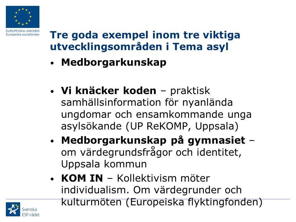 Tre goda exempel inom tre viktiga utvecklingsområden i Tema asyl Medborgarkunskap Vi knäcker koden – praktisk samhällsinformation för nyanlända ungdomar och ensamkommande unga asylsökande (UP ReKOMP, Uppsala) Medborgarkunskap på gymnasiet – om värdegrundsfrågor och identitet, Uppsala kommun KOM IN – Kollektivism möter individualism.