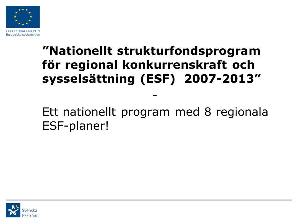 """""""Nationellt strukturfondsprogram för regional konkurrenskraft och sysselsättning (ESF) 2007-2013"""" - Ett nationellt program med 8 regionala ESF-planer!"""