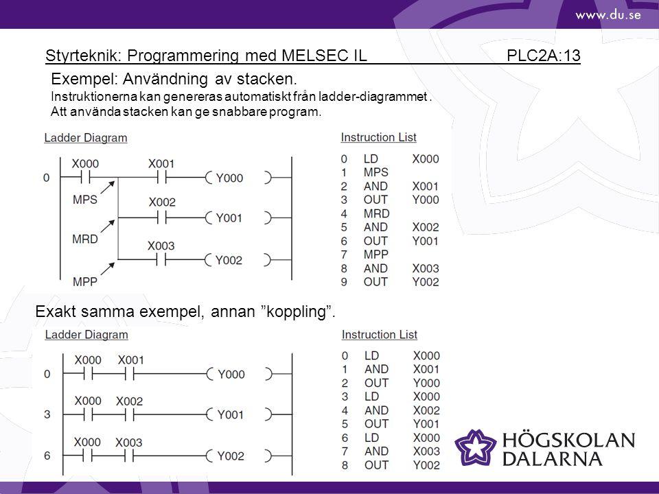 Styrteknik: Programmering med MELSEC IL PLC2A:13 Exempel: Användning av stacken.