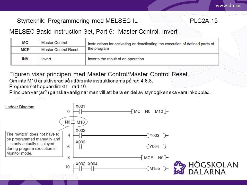 Styrteknik: Programmering med MELSEC IL PLC2A:15 MELSEC Basic Instruction Set, Part 6: Master Control, Invert Figuren visar principen med Master Control/Master Control Reset.