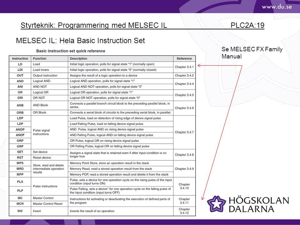 Styrteknik: Programmering med MELSEC IL PLC2A:19 MELSEC IL: Hela Basic Instruction Set Se MELSEC FX Family Manual