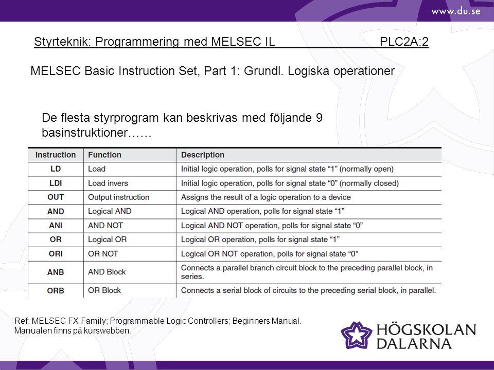 Styrteknik: Programmering med MELSEC IL PLC2A:2 MELSEC Basic Instruction Set, Part 1: Grundl.
