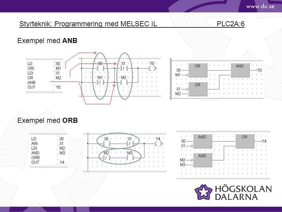 Styrteknik: Programmering med MELSEC IL PLC2A:6 Exempel med ANB Exempel med ORB