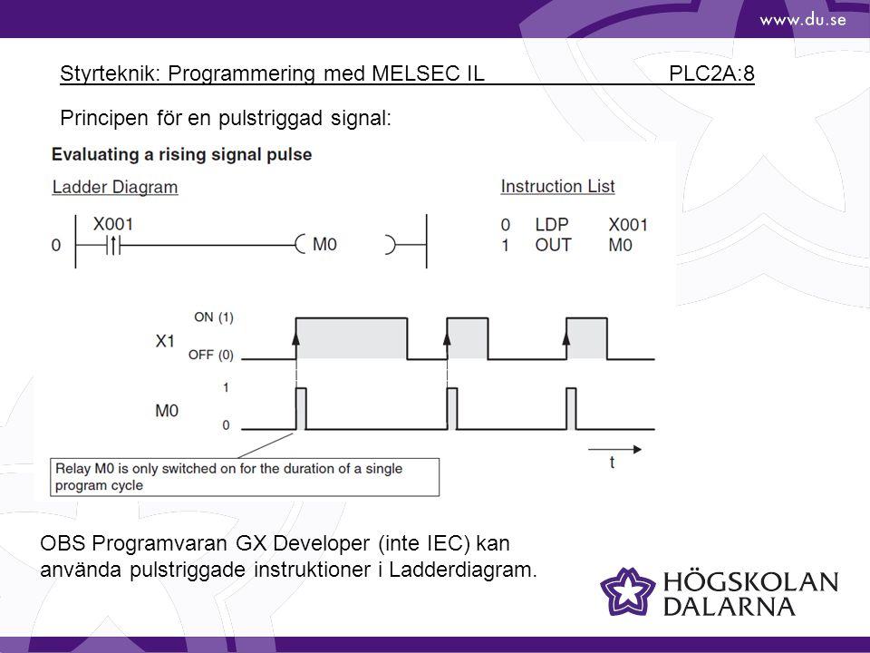 Styrteknik: Programmering med MELSEC IL PLC2A:8 Principen för en pulstriggad signal: OBS Programvaran GX Developer (inte IEC) kan använda pulstriggade instruktioner i Ladderdiagram.