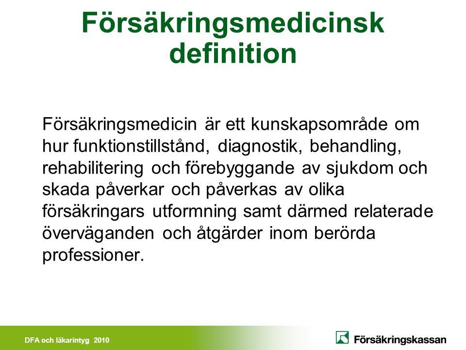 DFA och läkarintyg 2010 Fyra spänningspunkter Patientperspektivet och vårdgivarperspektivet, mötet mellan patient och sjukvård Sjukvårdens insatser och individens behov av försäkringsförmåner i växelverkan, positiva och negativa effekter Utredning och behandling i sjukvården förmedlas i olika medicinska underlag Kunskapsområde med anspråk på vetenskap, praktisk färdighet och klinisk skicklighet