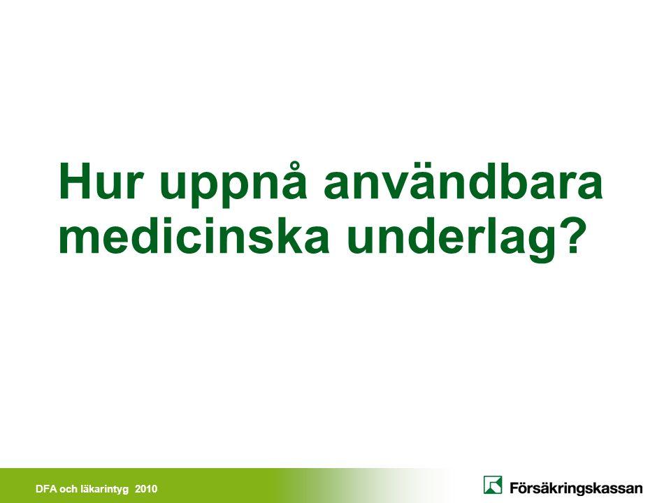 DFA och läkarintyg 2010 Användbara medicinska underlag Relatera till DFA-kedjan Försäkringsmedicinsk förståelse - läkaren Försäkringsmedicinsk begriplighet – handläggaren på Försäkringskassan Begripliga beslutsmotiveringar – patienten/den försäkrade Avgränsade ansvarsområden - professionalism