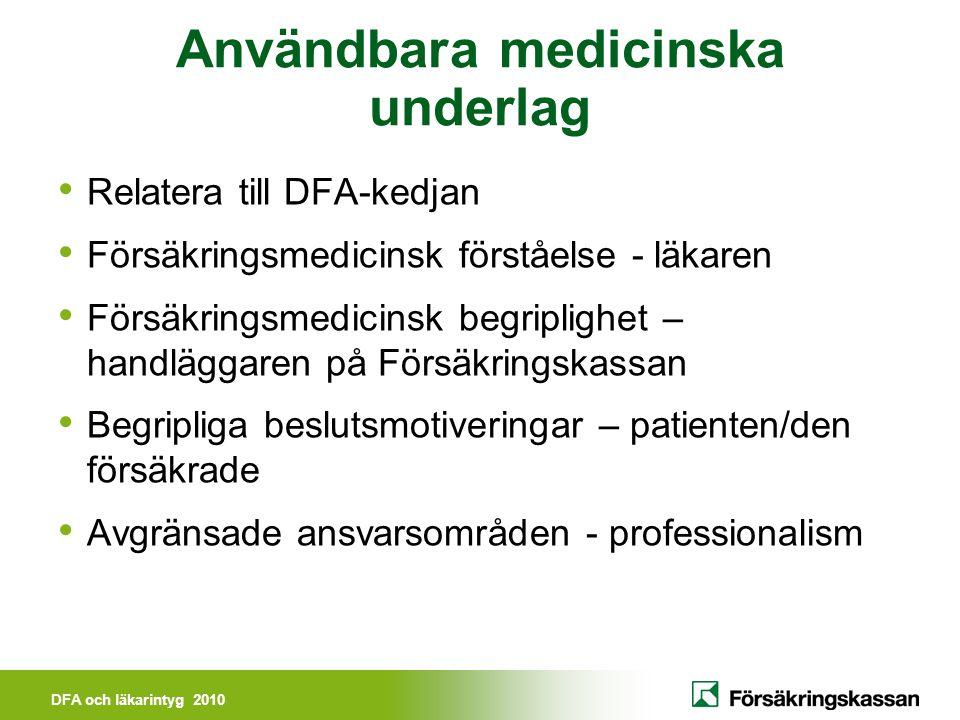 DFA och läkarintyg 2010 DFA - kedjan Diagnos Funktionsnedsättning Aktivitetsbegränsning Fält 2 Fält 4 Fält 5