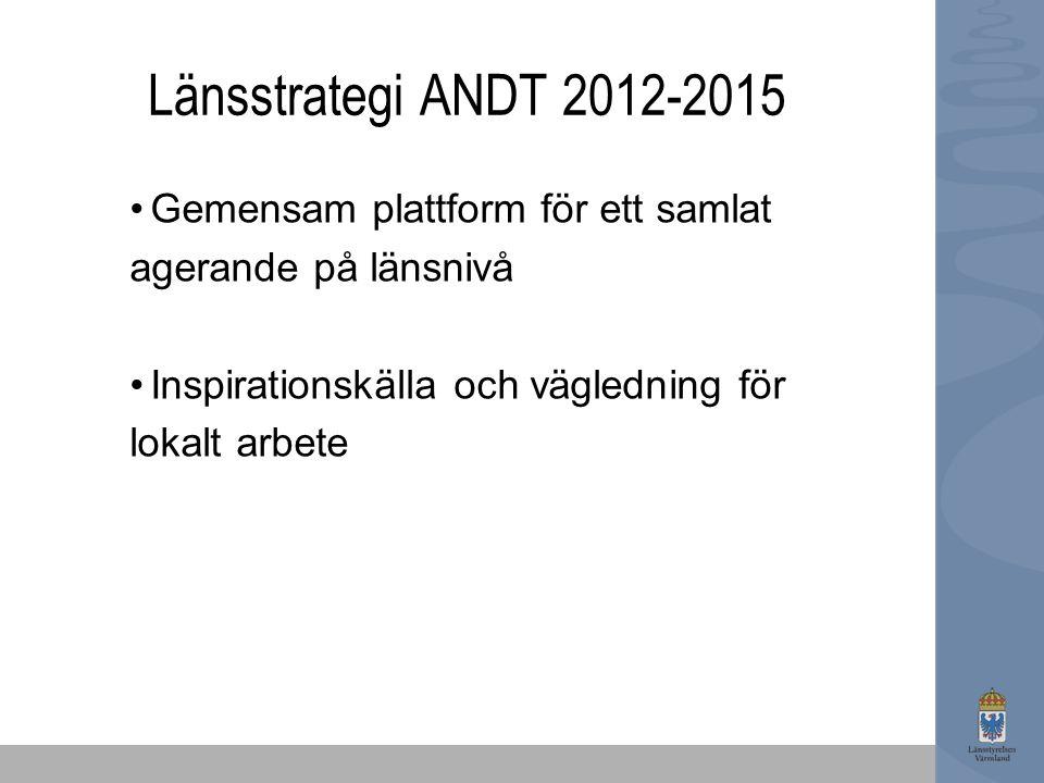 Länsstrategi ANDT 2012-2015 Gemensam plattform för ett samlat agerande på länsnivå Inspirationskälla och vägledning för lokalt arbete