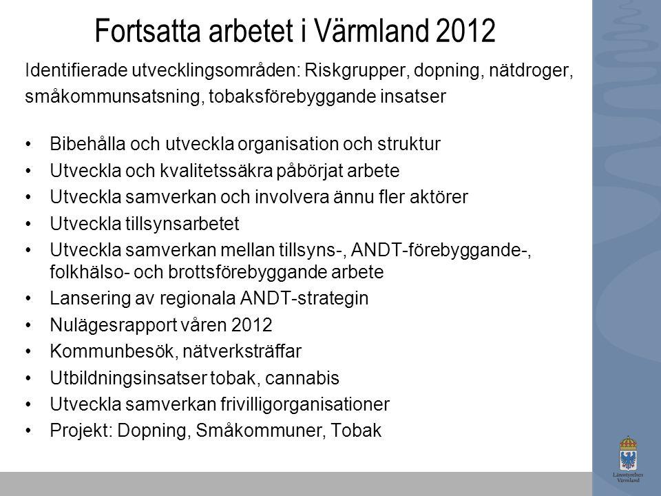 Fortsatta arbetet i Värmland 2012 Identifierade utvecklingsområden: Riskgrupper, dopning, nätdroger, småkommunsatsning, tobaksförebyggande insatser Bi
