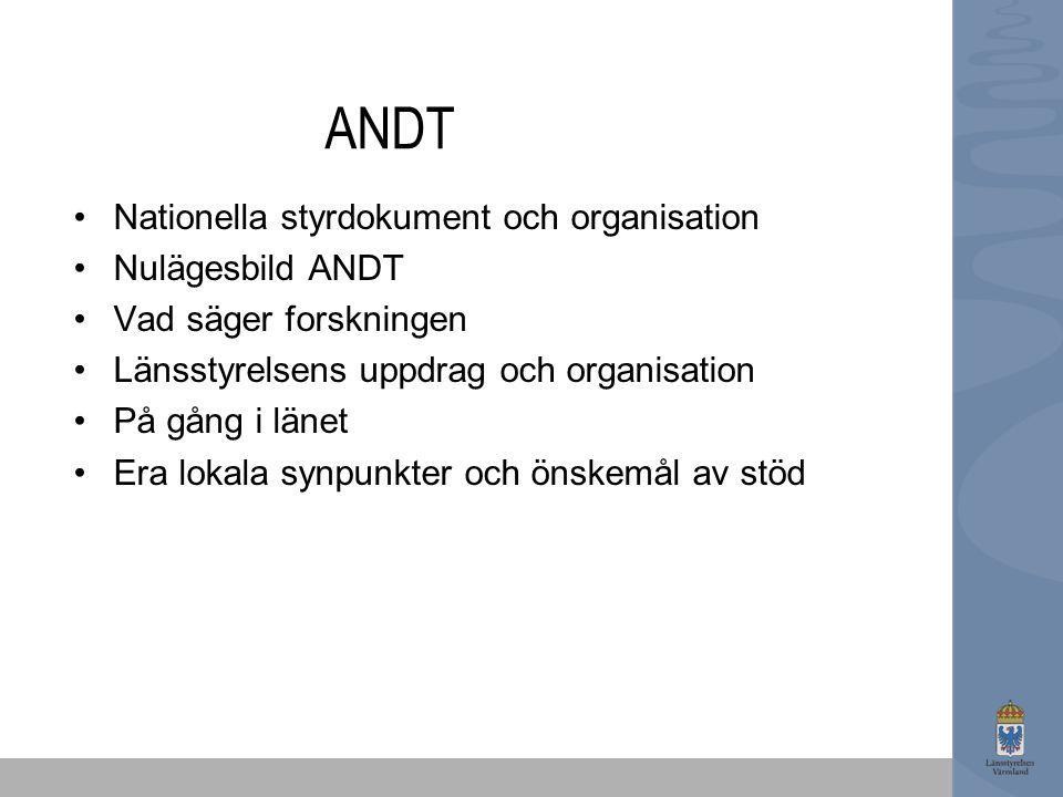 ANDT Nationella styrdokument och organisation Nulägesbild ANDT Vad säger forskningen Länsstyrelsens uppdrag och organisation På gång i länet Era lokal