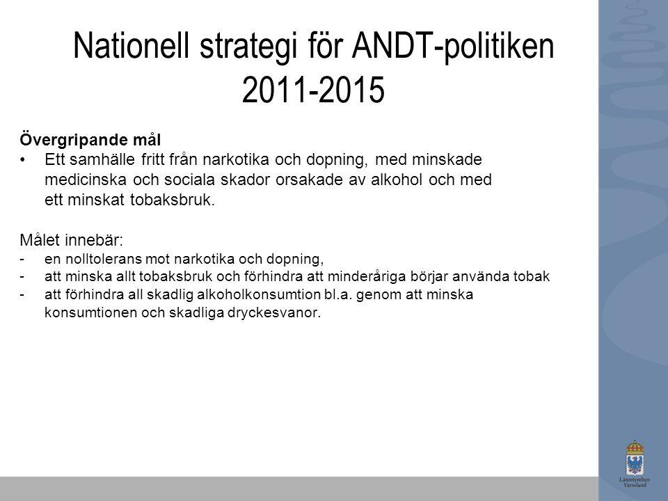 Nationell strategi för ANDT-politiken 2011-2015 Övergripande mål Ett samhälle fritt från narkotika och dopning, med minskade medicinska och sociala sk