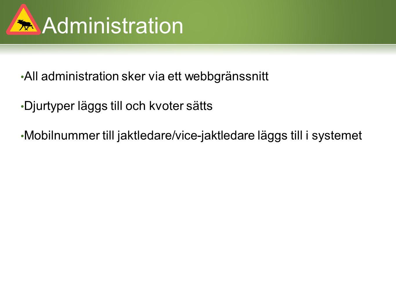 Administration All administration sker via ett webbgränssnitt Djurtyper läggs till och kvoter sätts Mobilnummer till jaktledare/vice-jaktledare läggs
