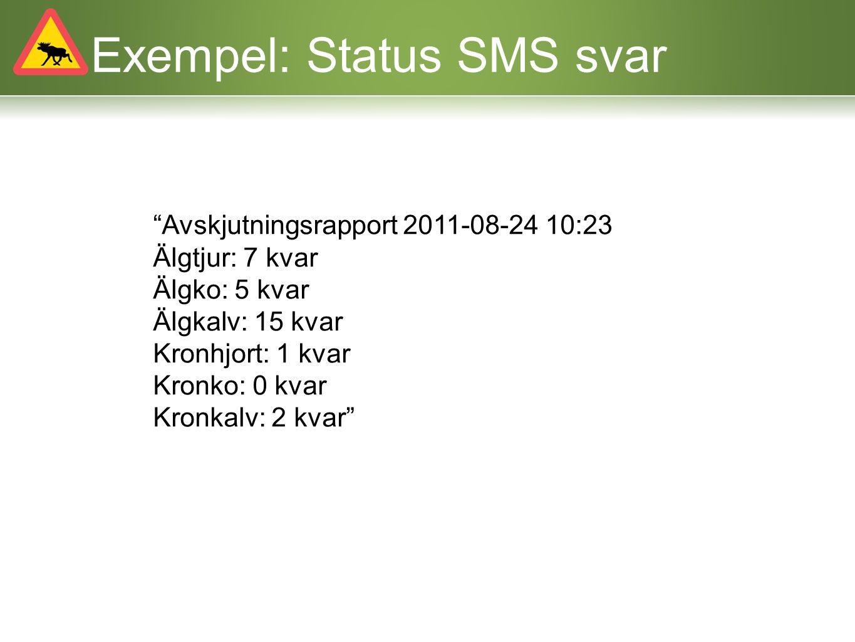 Exempel: Självanmälan Skicka texten jv start 1212001 till 72456